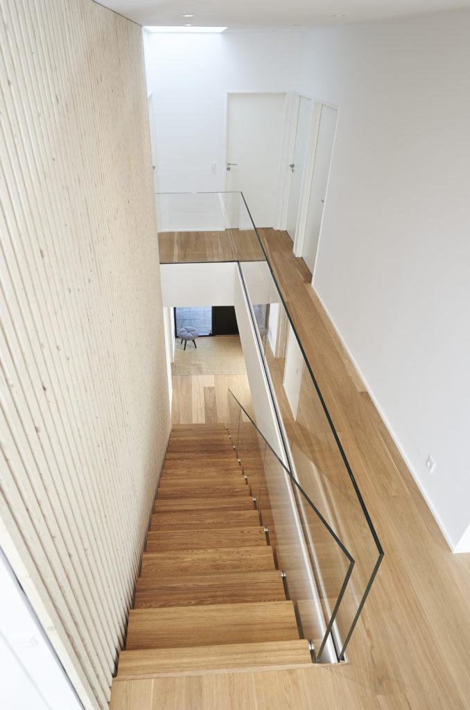 Glassrekkverk, trapp